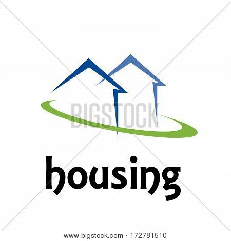 Vector sign house in the green, isolated illustration on white