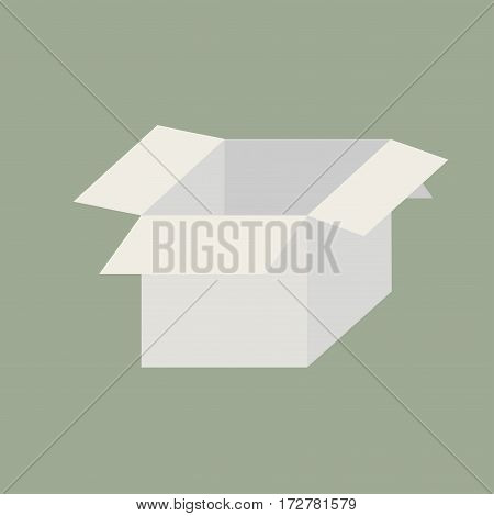 Open white box on a green background. The parcel came. Delivery of gifts. Vector illustration.