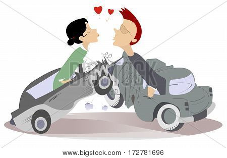 Road accident and love couples. Man and woman fall into the road accident and find love