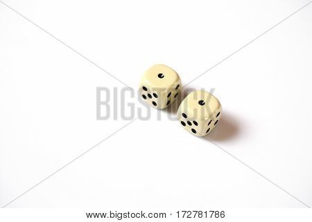two dice double number one on a white background. gambling abstraction, copyspace