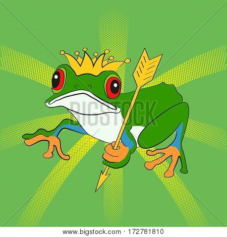 Princess Frog with arrow. Cartoon vector illustration. Pop art dot effect.