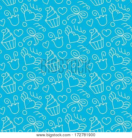 Sweet vector seamless pattern with hearts, cupcakes, flowers, bows. Cute girlish hand drawn background. Endless texture gentle color. Cake vector. Cake background.