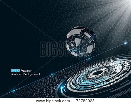 Abstract background with glass sphere, with blue colors and glow and futuristic elements, hexagons . Used a clipping mask.