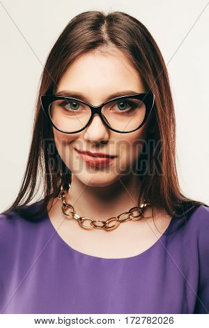 Business Woman In Glasses. Smile