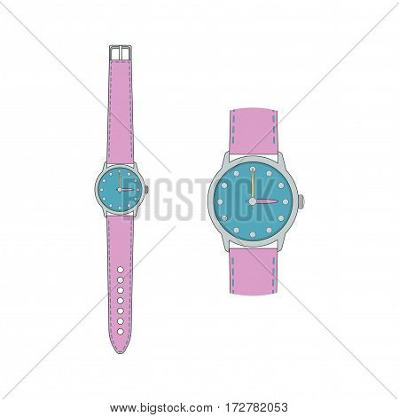 Wrist watch with strap and hands. An enlarged fragment of a wristwatch. Vector illustration.