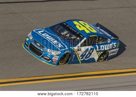 February 17, 2017 - Daytona Beach, Florida, USA:  Jimmie Johnson (48) takes to the track for a practice session for the Advance Auto Parts Clash at Daytona in Daytona Beach, Florida.