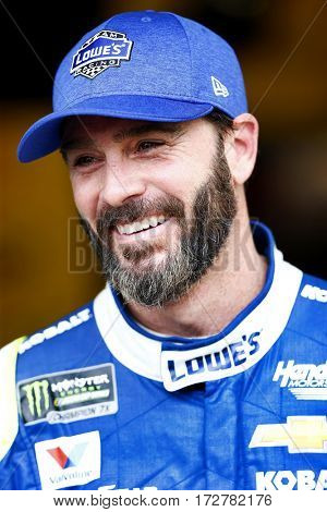 February 18, 2017 - Daytona Beach, Florida, USA: Jimmie Johnson (48) is all smiles before a practice session for the Daytona 500 at Daytona International Speedway in Daytona Beach, Florida.