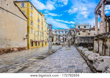 Scenic view at old roman street in city center of town Split, Croatia, european famous sightseeing spot.