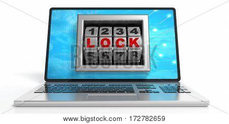 Word Lock On A Laptop's Screen. 3D Illustration