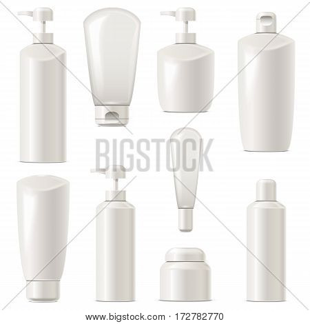 Vector Cosmetic Packaging Icons Set 7 isolated on white background