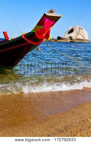 Prow Asia In The  Kho Tao Bay Isle White  Beach    Rocks   Boat   Thailand