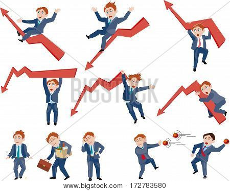Business people take off and fall to the arrows, to express their joy and sorrow