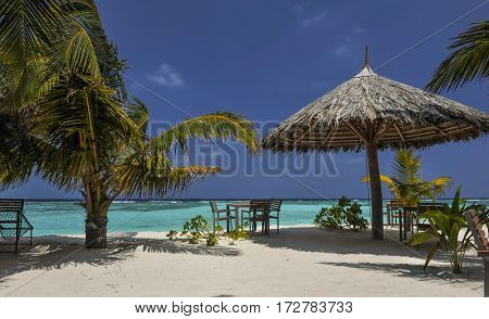 Tropical island with palm trees and amazing vibrant beach in Maldives. White parasol in sea tropical Maldives romantic atoll island paradise luxury resort about coral reef.Umbrella on a beach