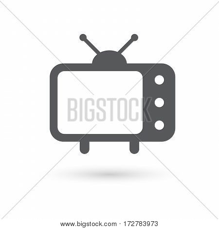old fashioned tv vector icon illustration with shadow