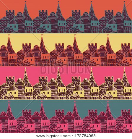 Old town with tower and fortress vector seamless pattern. Middle age fairy city endless texture