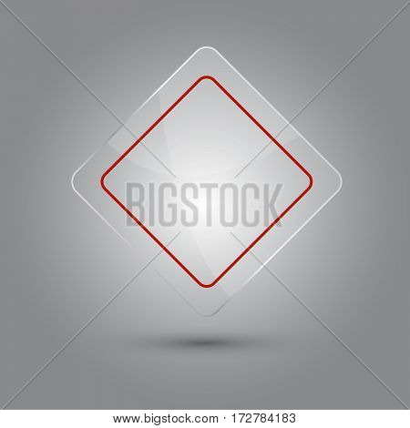 Blank sign glossy vector illustration with shadow