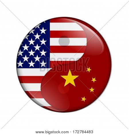 USA and China working together The US flag and Chinese flag on a yin yang symbol isolated over white 3D Illustration