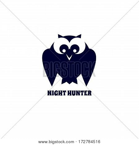 Animal based logo. Owl icon silhouette design. Simple emblem of bird night hunter isolated. Freehand drawn sign cute style. Stylized abstract symbol. Vector element of wildlife decorative background
