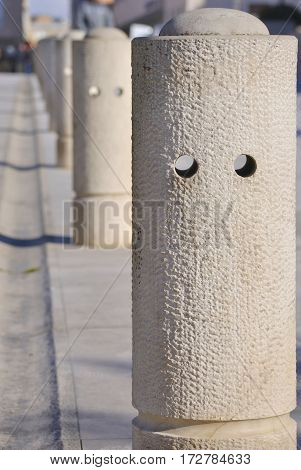 Number of restrictive columns on the street of Zadar, Croatia