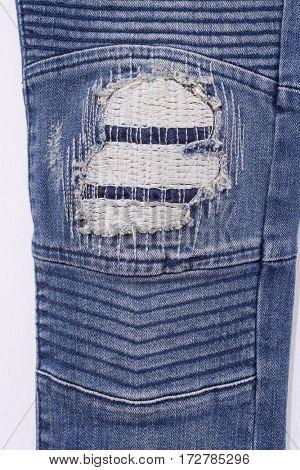 Leg torn Jeans denim texture