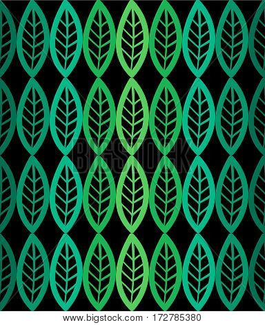 Fresh leaves seamless pattern in vector. Green foliage endless background