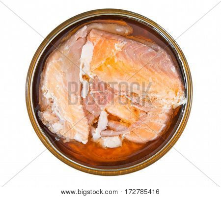 Salmon in a tin isolated on a white background