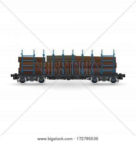 Railway Platform for Timber Transportation, Train with Timber on White Background, Railway and Cargo Transport ,Vector Illustration