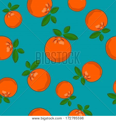Seamless Pattern of Orange ,Fruit Citrus on Azure Background,  Vector Illustration