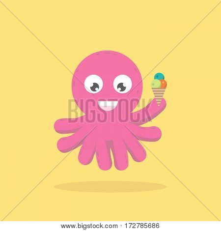 Octopus Underwater Marine Character Eating Sweet Icecream