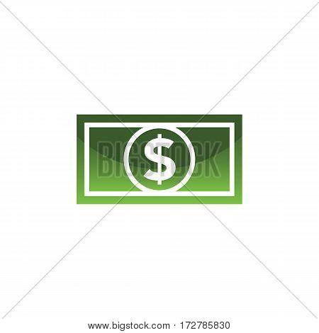 Dollar bill icon in fresh green colors. Minimalistic design.