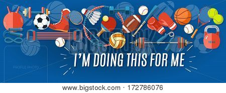 Sport banner Facebook Cover. Set of sport balls and gaming items at a blue background. Corporate facebook cover background. Healthy lifestyle tools, elements. Vector Illustration