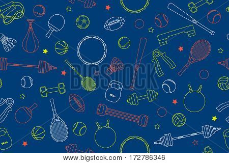 Sports Equipment pattern. Set of colorful sport balls and gaming items at a blue background. Subject of fitness, sport, healthy lifestyle tools, elements. Vector Illustration
