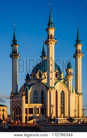 Kazan Tatarstan Russia - August 16 2016: Kul Sharif also spelled Qol Sharif Qol Sherif and Kol Sharif Mosque in Kazan Kremlin. One of the largest mosques in Europe.