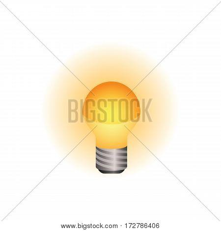 Light bulb icon shining brightly. Colored version. Minimalistic design.