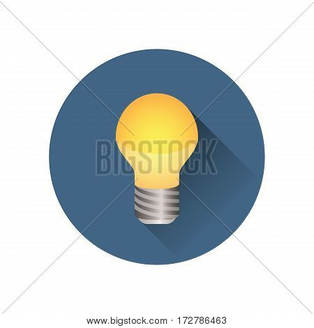 Light bulb icon shining brightly. Colored version in a blue circle. Minimalistic design.