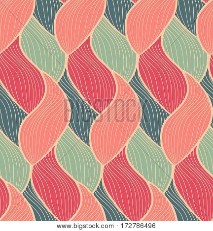 Vector seamless hand drawn wave pattern. Colorful endless thread background