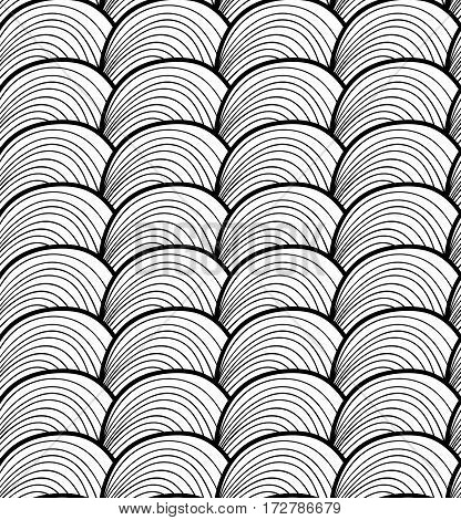Vector seamless hand drawn wave pattern. Endless thread background
