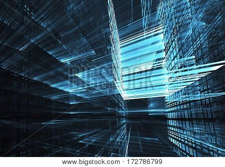 Computer generated blue abstract technology image. Three-dimensional fractal texture