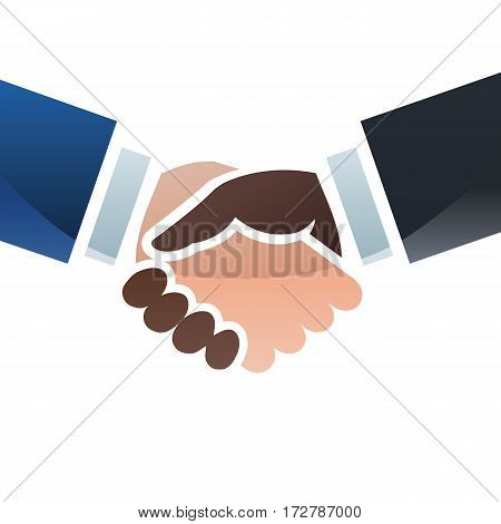 Handshake sealing a deal. Colorful illustration of two hands with different skin colors.