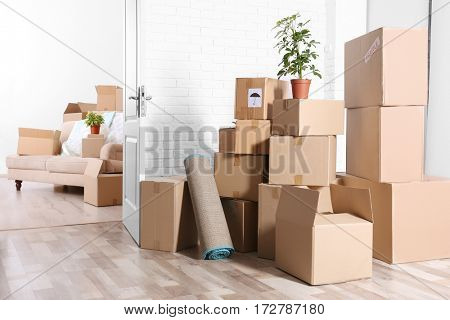 Packed household stuff for moving into new house