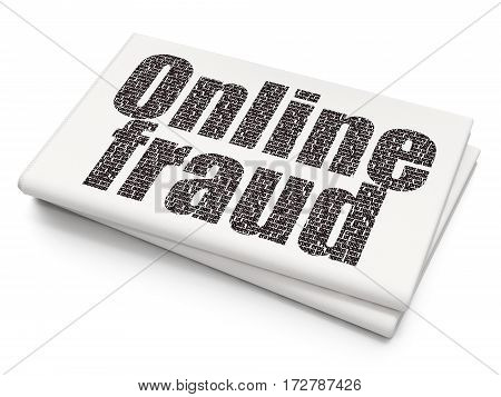 Privacy concept: Pixelated black text Online Fraud on Blank Newspaper background, 3D rendering