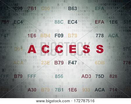 Security concept: Painted red text Access on Digital Data Paper background with Hexadecimal Code