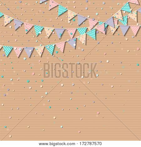 Bunting Flags. Lovely Celebration Card With Colorful Paper Bunting Flags And Confetti. Party Backgro