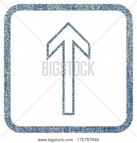 Arrow Up vector textured icon for overlay watermark stamps. Blue jeans fabric vectorized texture. Symbol with unclean design inside rounded rectangular frame.