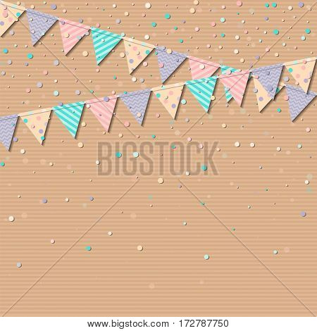 Bunting Garland. Interesting Celebration Card With Colorful Paper Bunting Garland And Confetti. Part