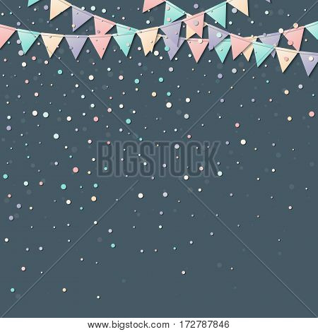 Flag Garland. Stunning Celebration Card With Colorful Paper Flag Garland And Confetti. Party Backgro