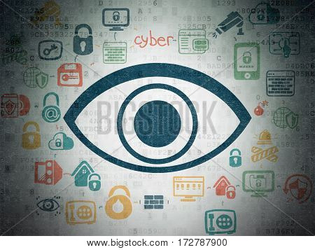 Security concept: Painted blue Eye icon on Digital Data Paper background with Scheme Of Hand Drawn Security Icons