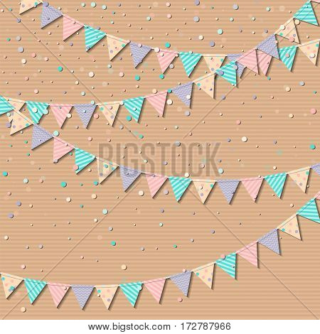 Flag Garland. Resplendent Celebration Card With Colorful Paper Flag Garland And Confetti. Party Back