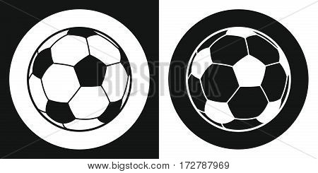 Soccer ball icon. Silhouette soccer ball on a black and white background. Sports Equipment. Vector Illustration