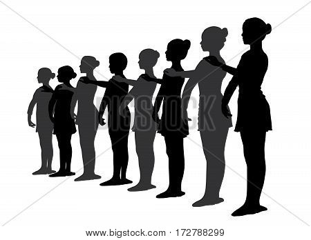 Group of ballet dancers standing in a row. Isolated white background. EPS file available.